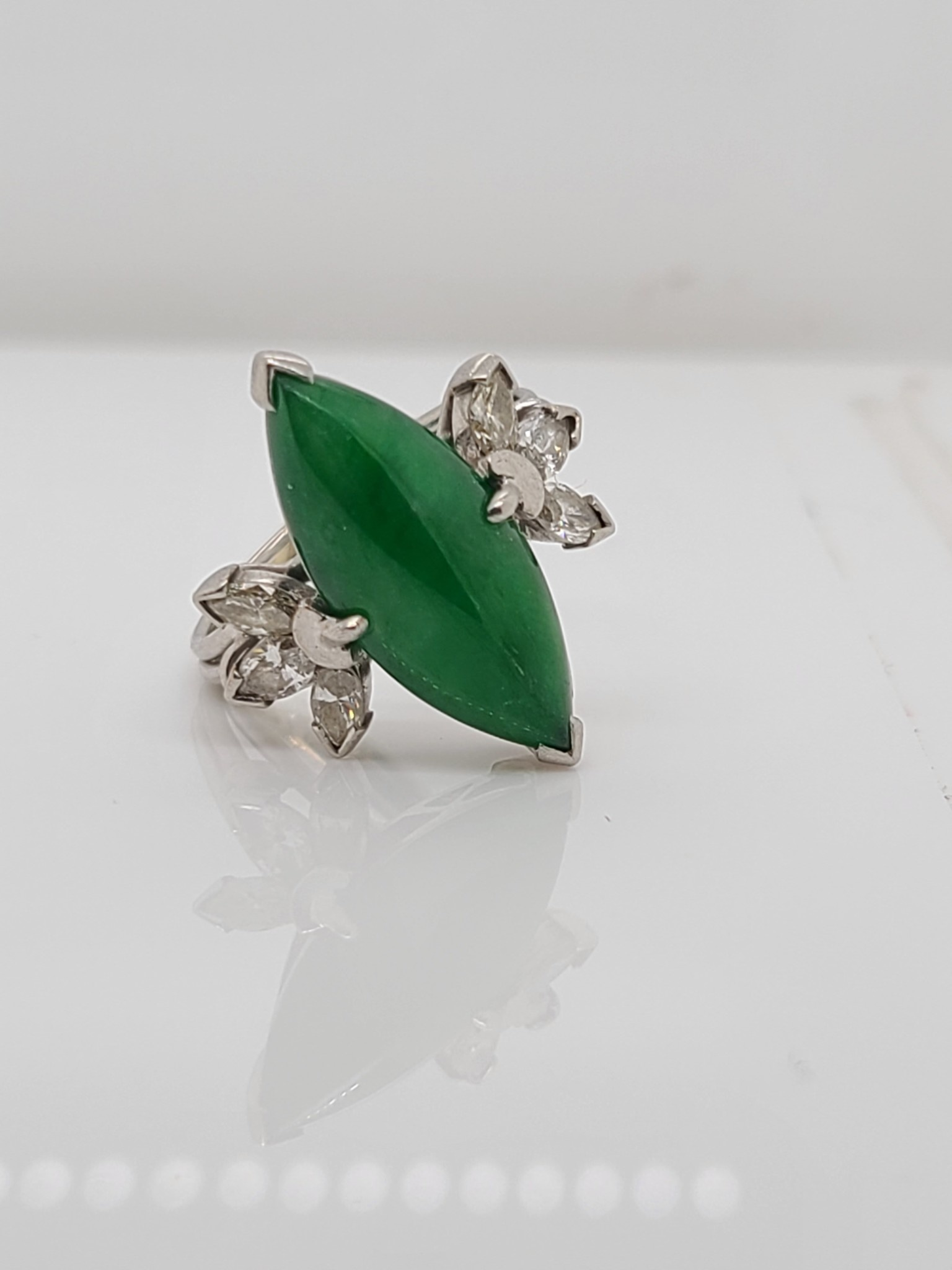 Vintage Platinum Jade & Diamond Ring