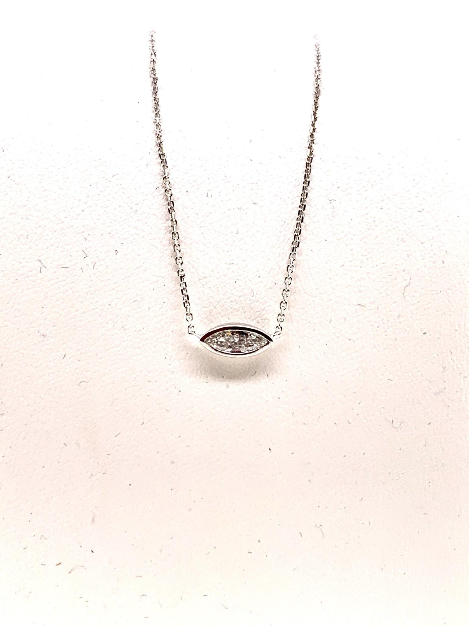 14K white gold east west bezel set 0.27ct marquise diamond necklace