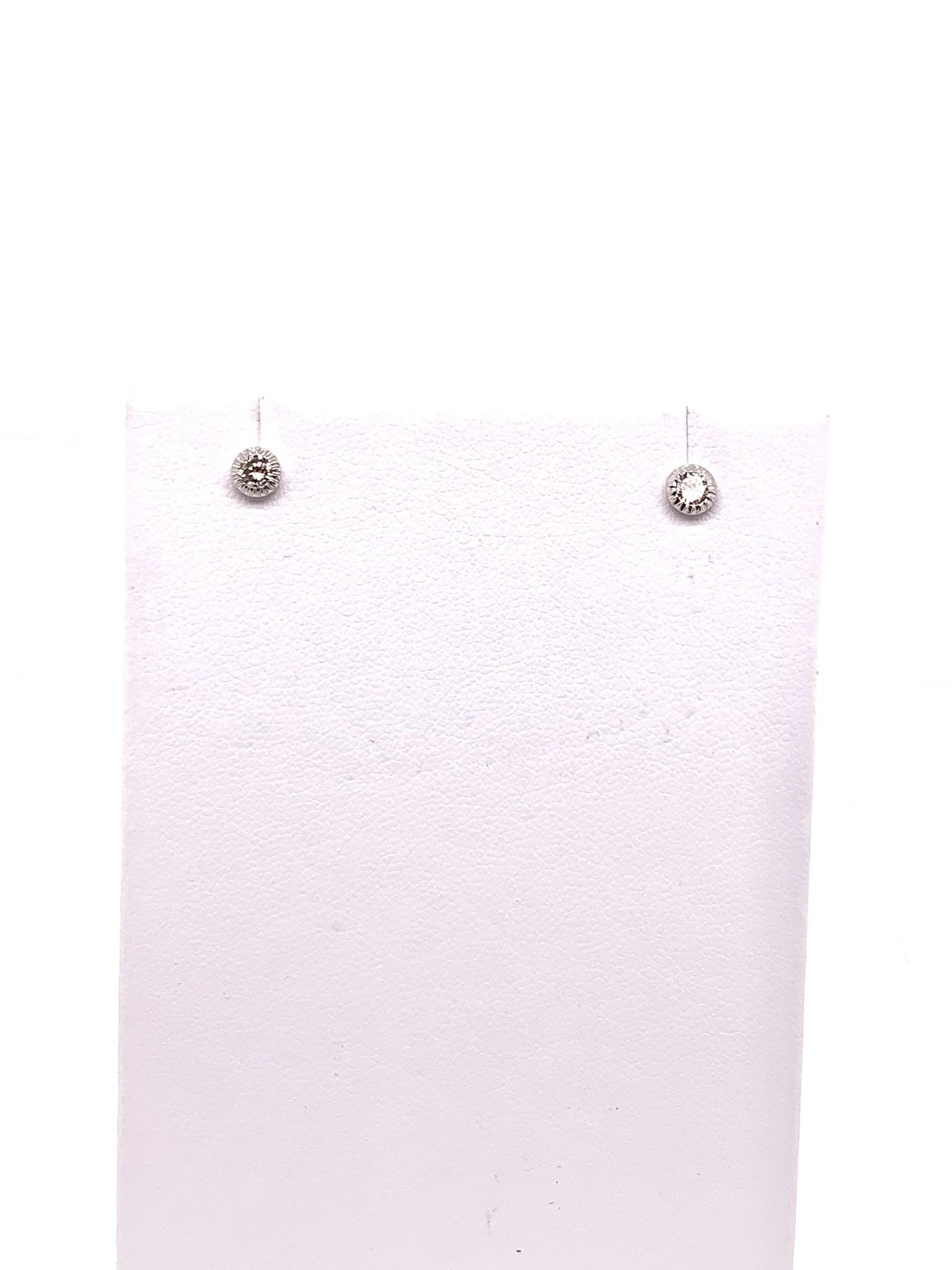 14K white gold 0.25ct diamond stud earrings with filigree