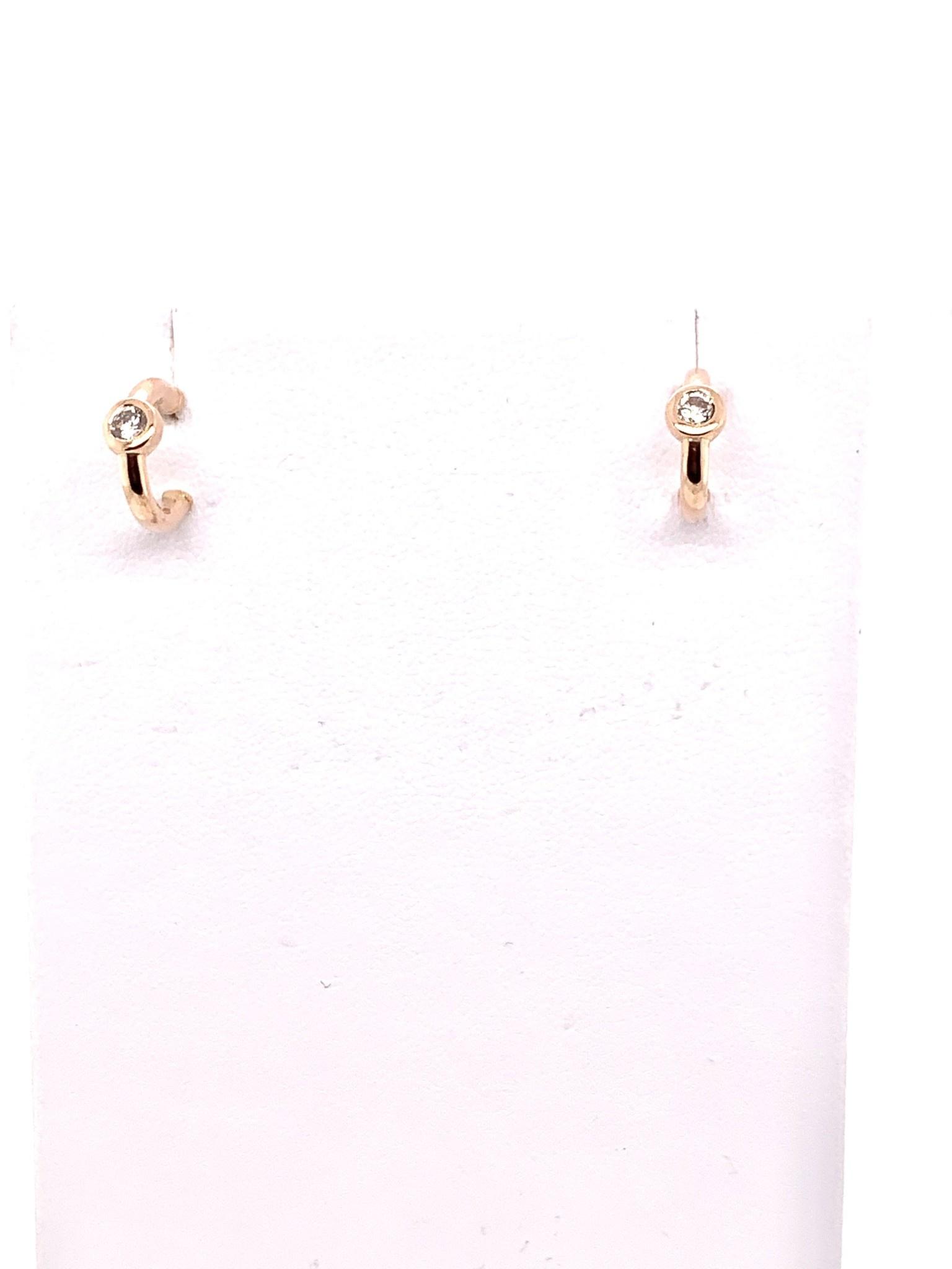 14K rose gold diamond hoop huggie