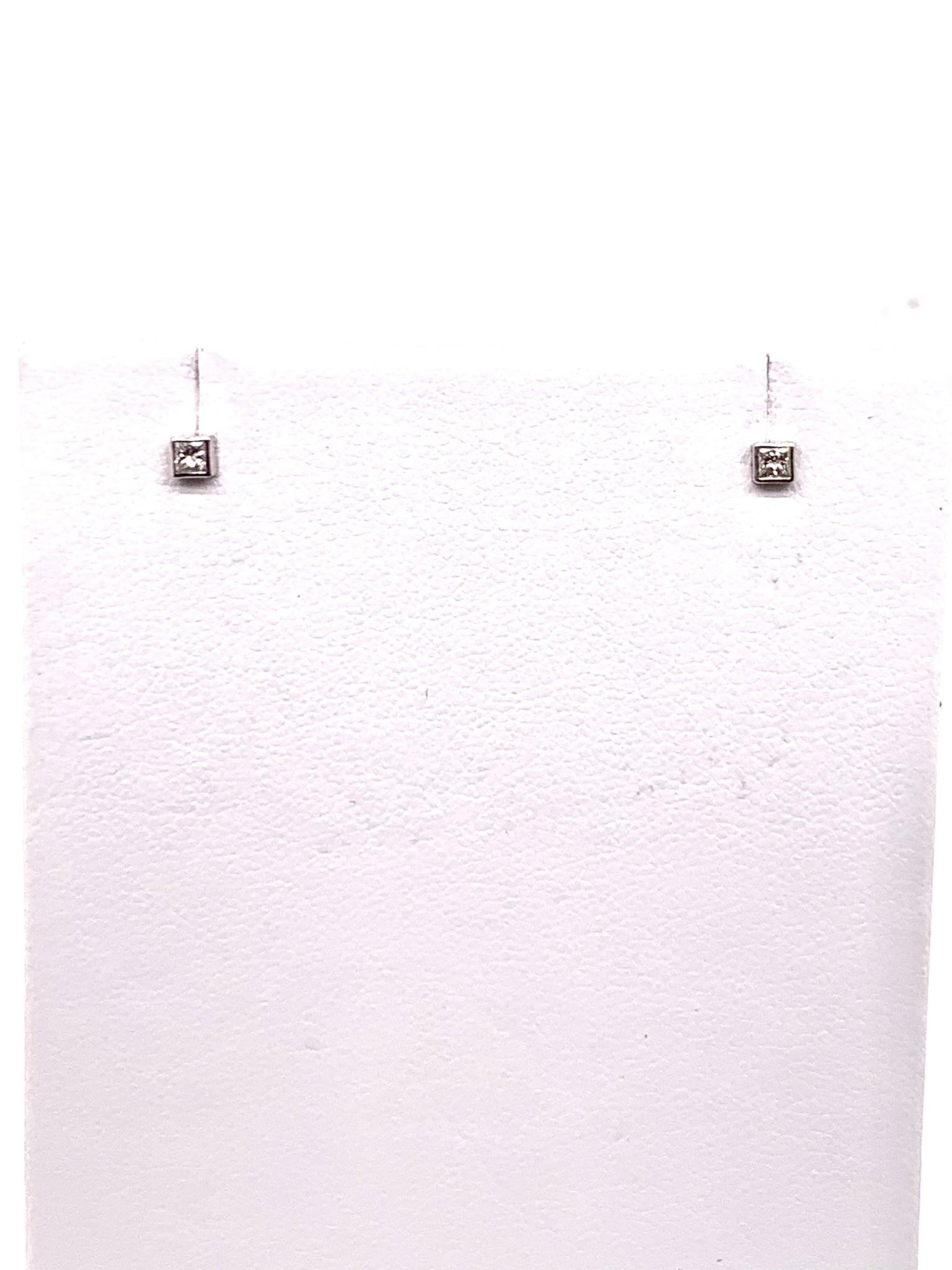 14K white gold square micro diamond stud earrings