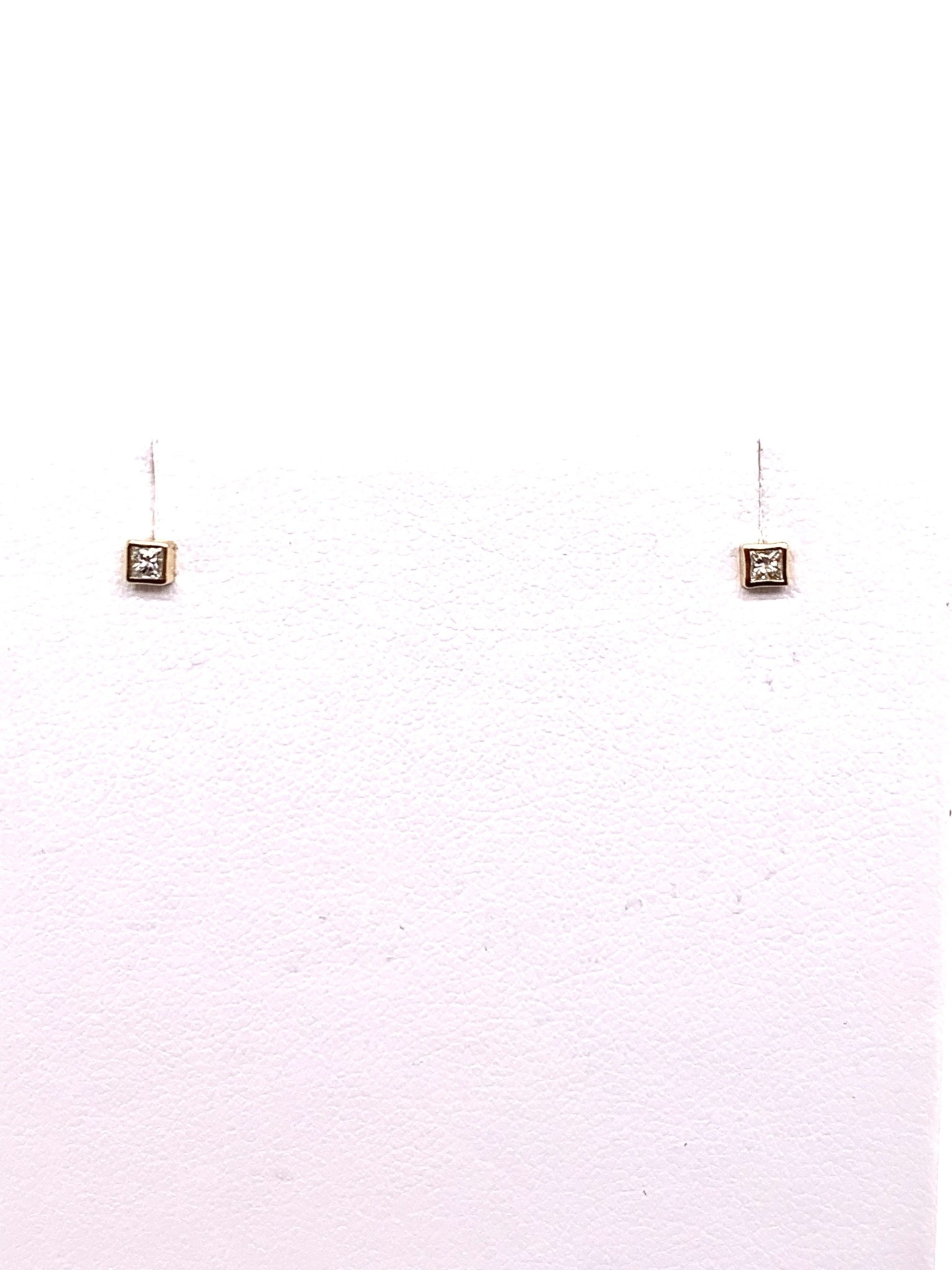 14K yellow gold square micro diamond stud earrings