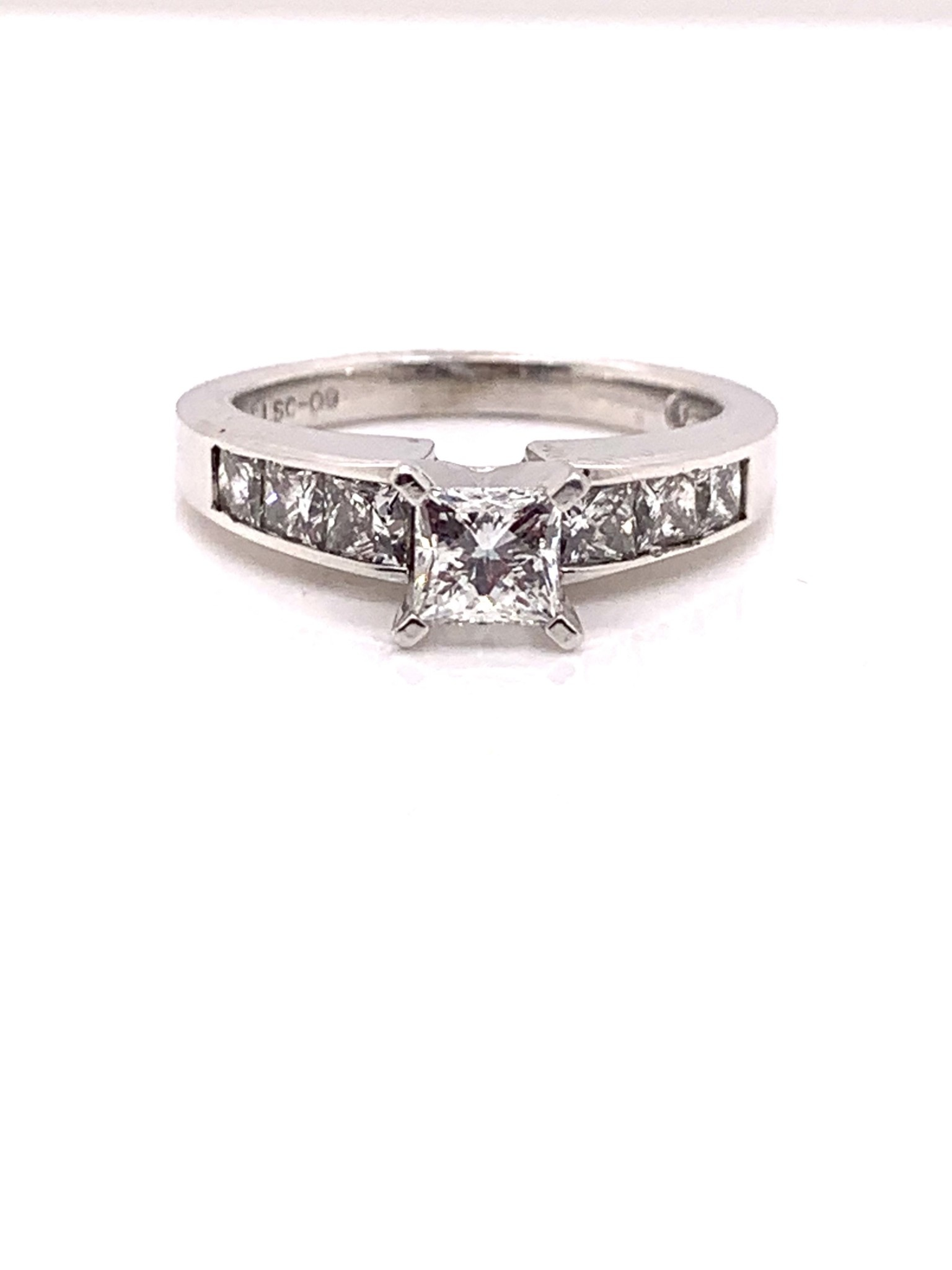 Platinum 0.59ct princess cut engagement ring G, VS1