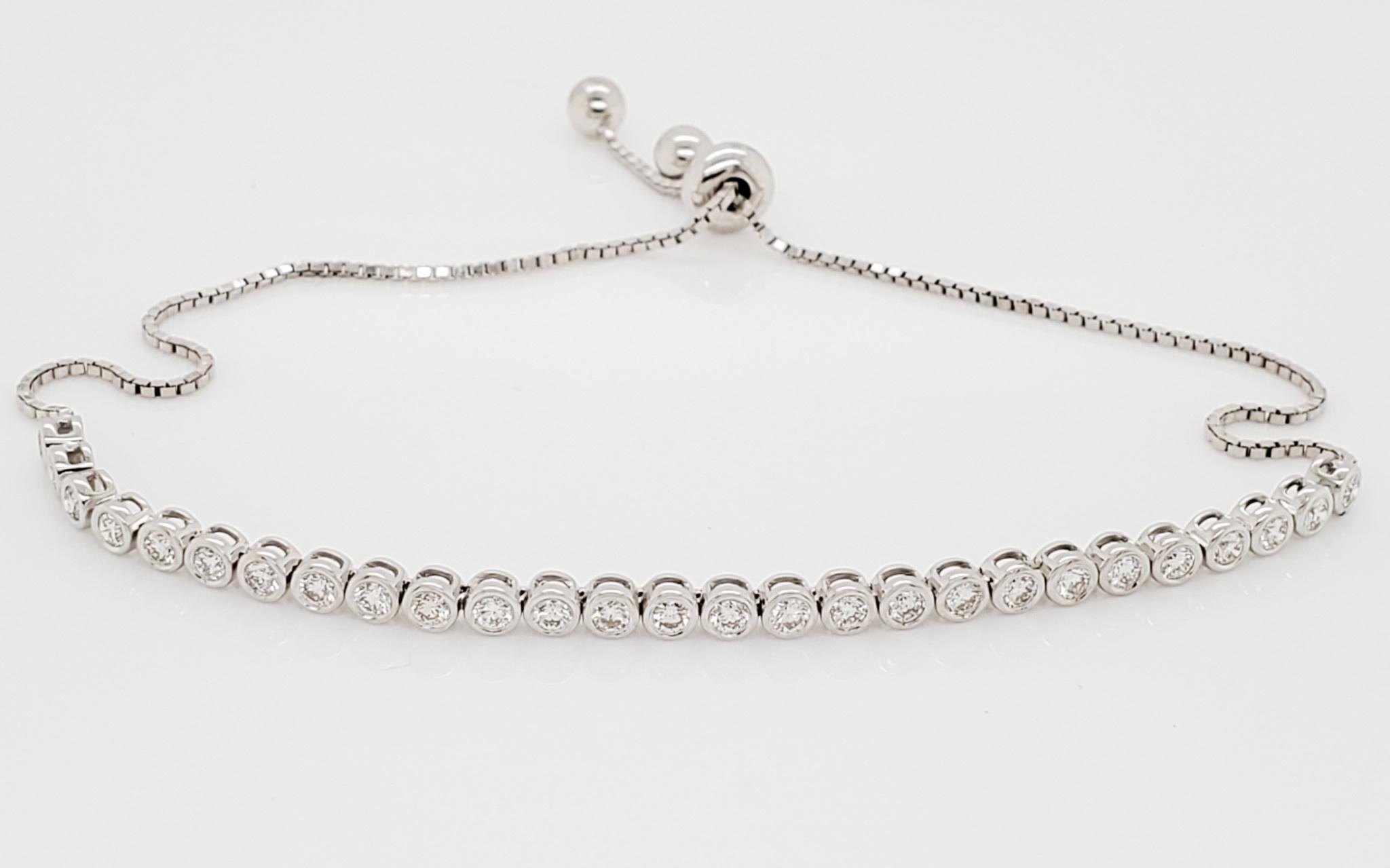 14KT White Gold  Diamond Lariat Bracelet 0.95 CTTW