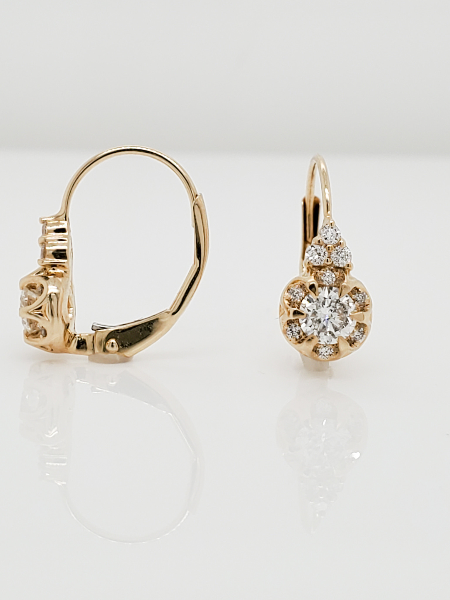 14KT Yellow Gold Hinged Floral Diamond Earrings 0.60 CTTW