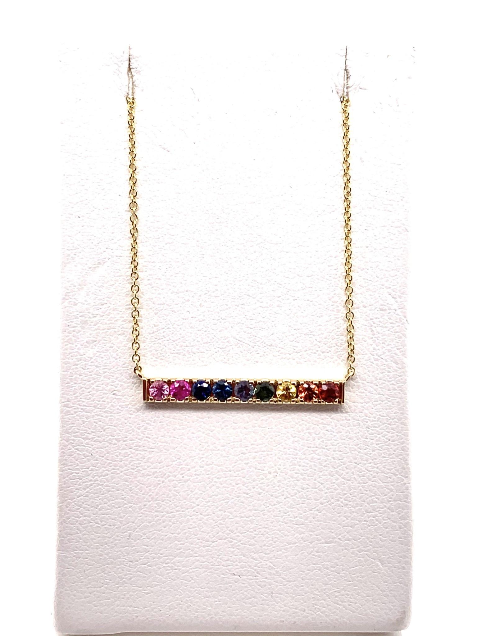 14K yellow gold multi-stone rainbow bar necklace