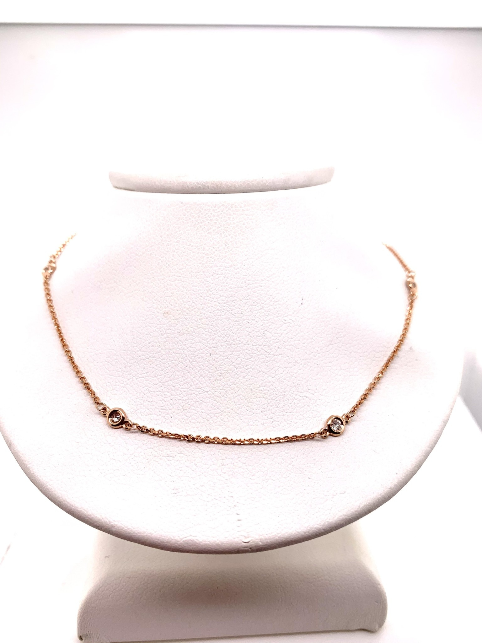 14K rose gold 0.25ct diamonds by the yard necklace