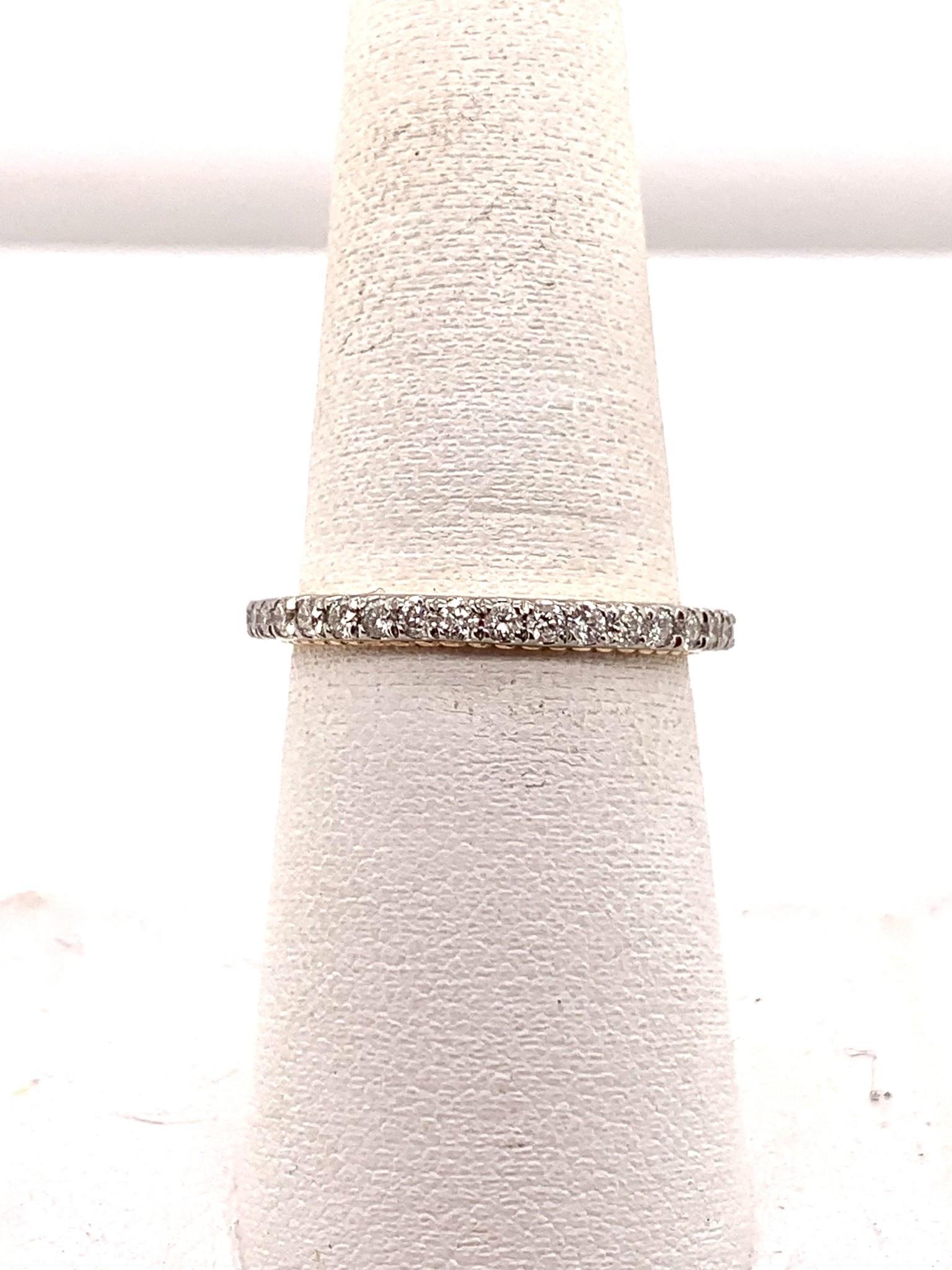 14K white and rose gold 0.60ct diamond wedding band
