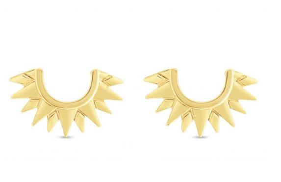 14K yellow gold polished half sun post earrings
