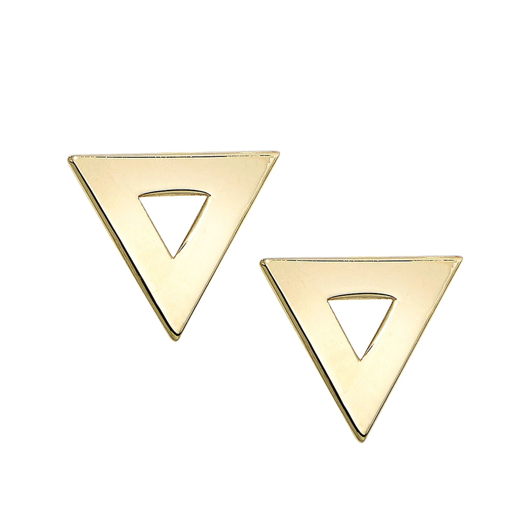14K yellow gold 8.3X9.2mm triangle post earrings