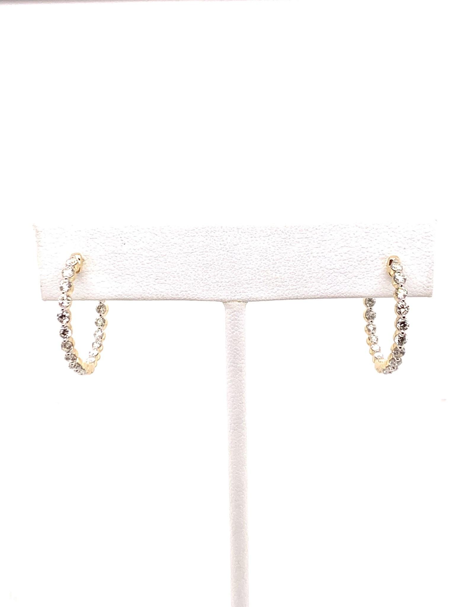 14K yellow gold diamond inside out hoop earrings 1.0ctw