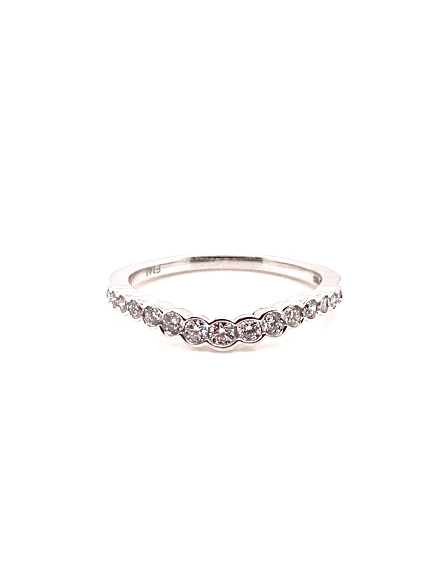 14K white gold diamond contour band 0.25ct