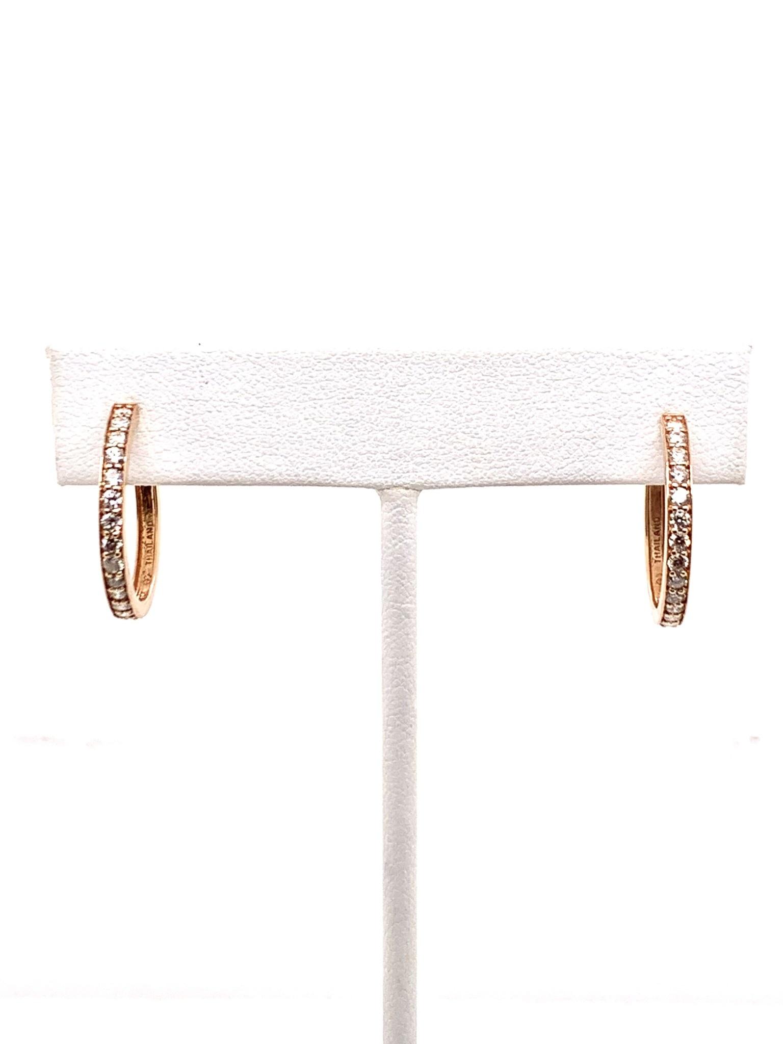 14K rose gold diamond hoop earrings 0.75ctw
