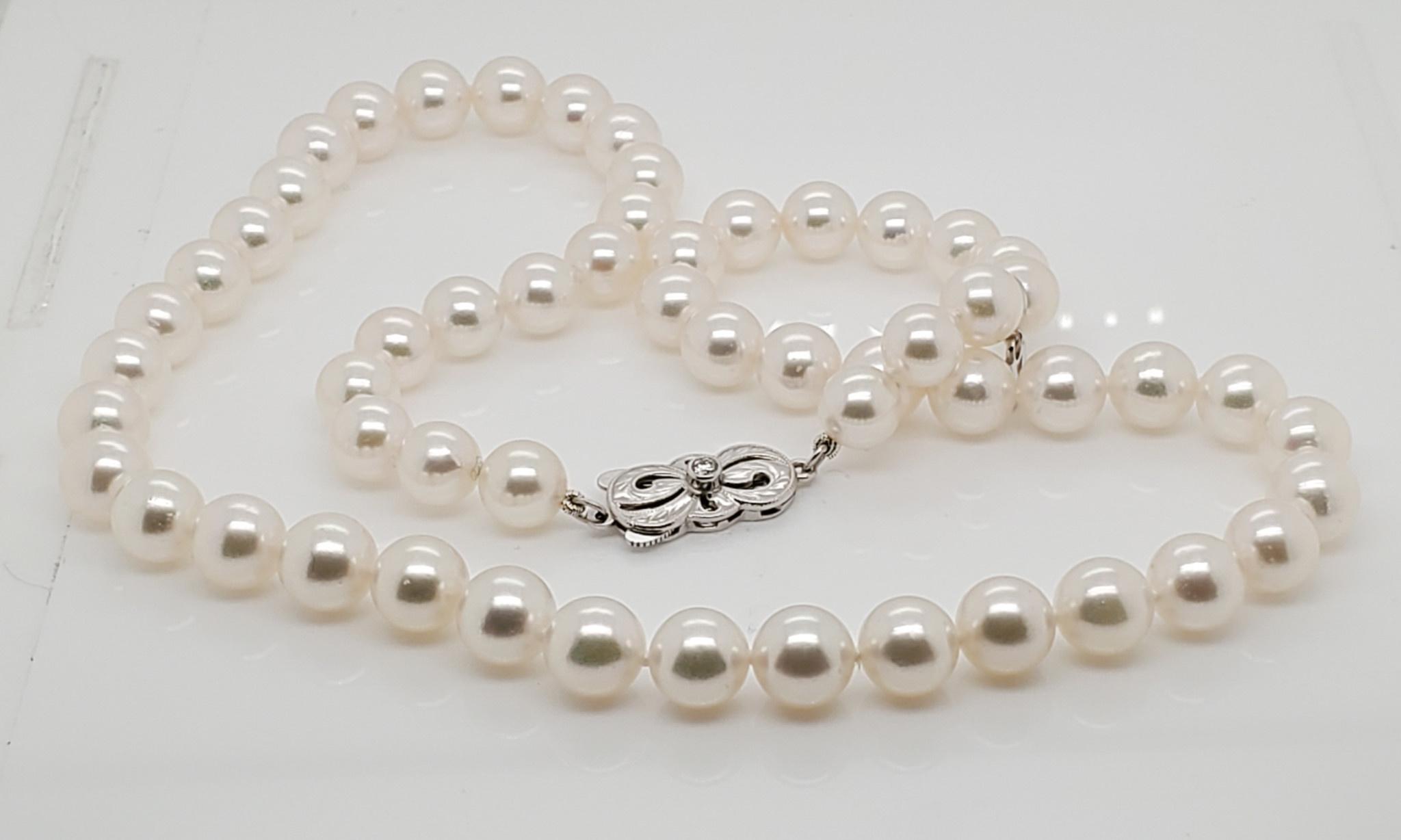 """18K White Gold 18"""" Mikimoto White Pearl Strand"""