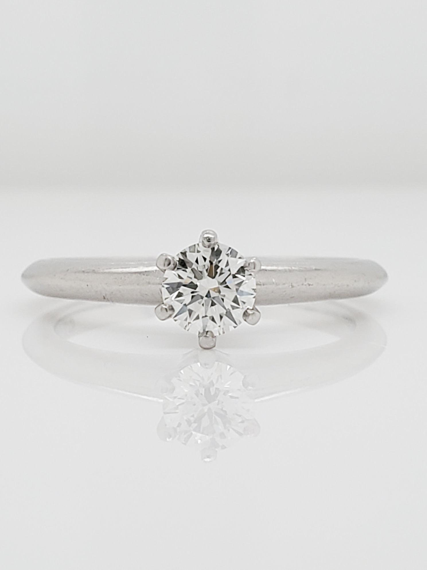 Platinum 0.35CT Tiffany & Co. Engagement Ring, G/VVS2