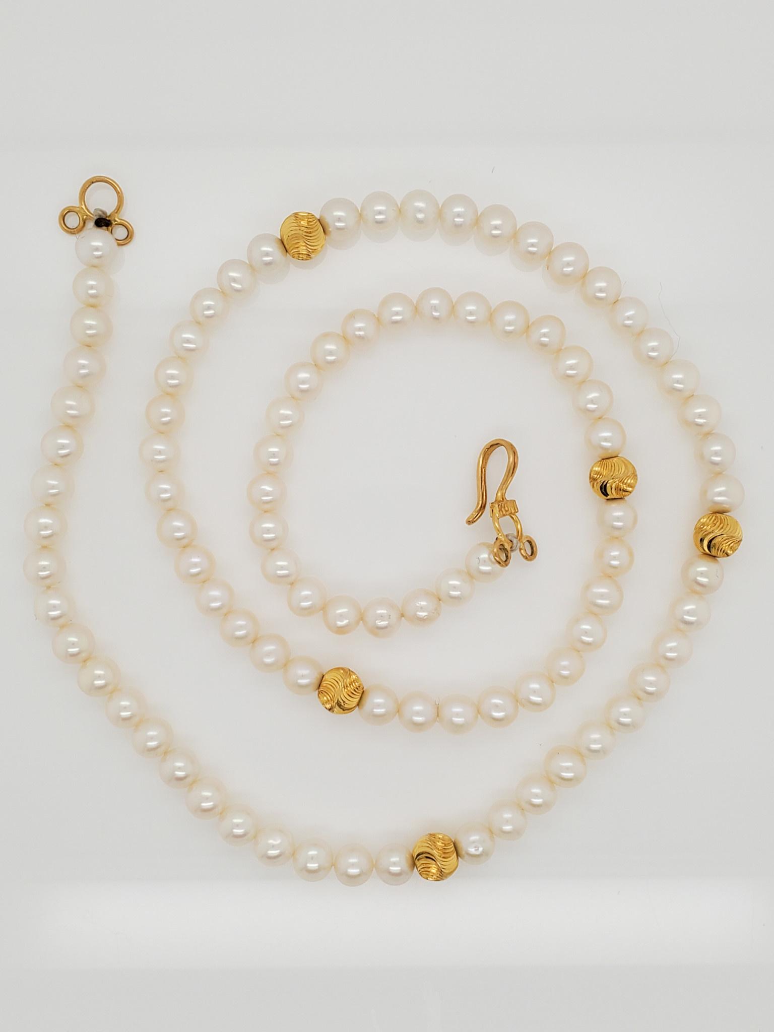 "18"" White Round Pearl Strand w/ Yellow Gold Beads"