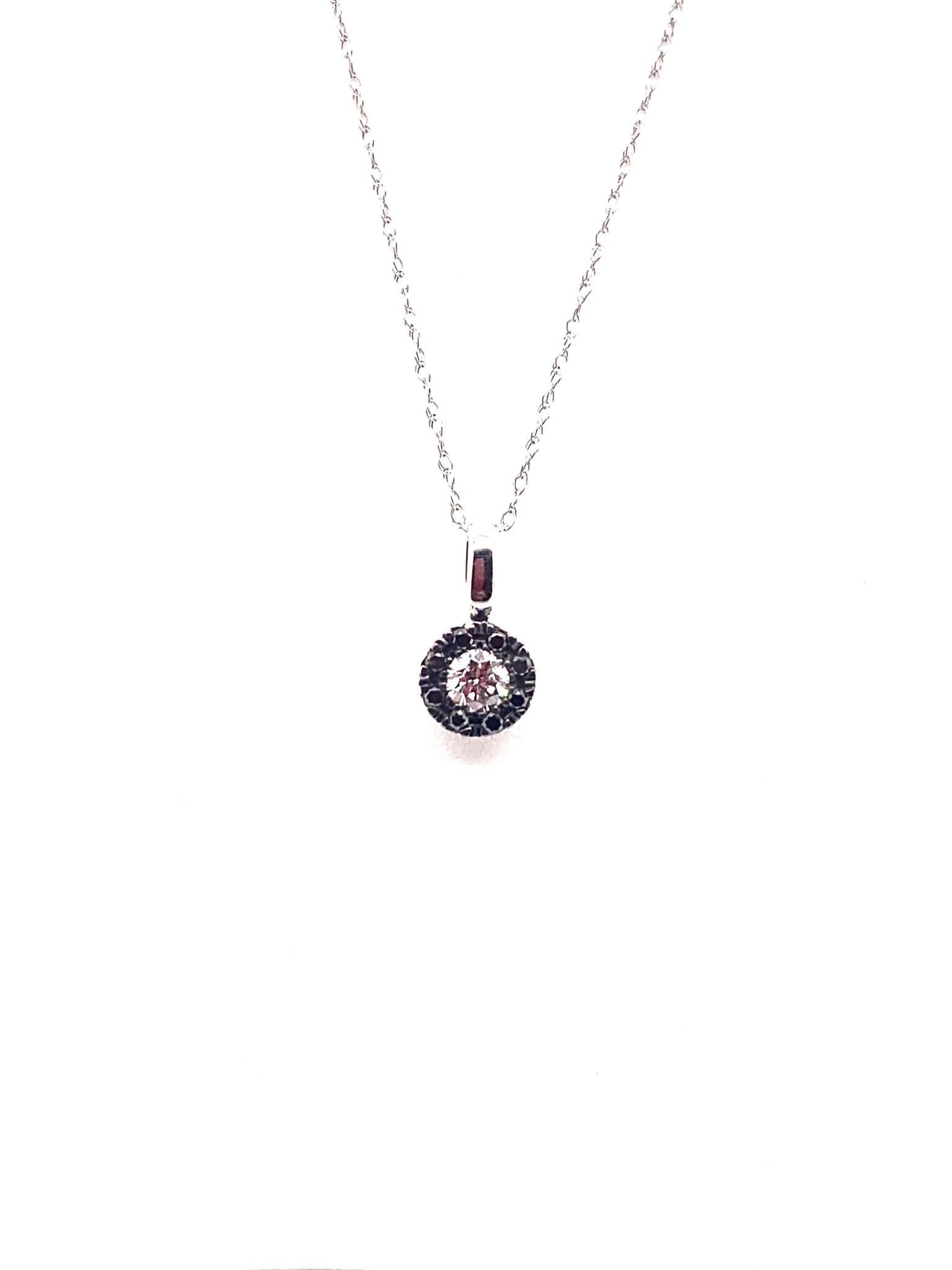 10K white gold 0.20ct diamond with 0.10ct black diamond halo pendant