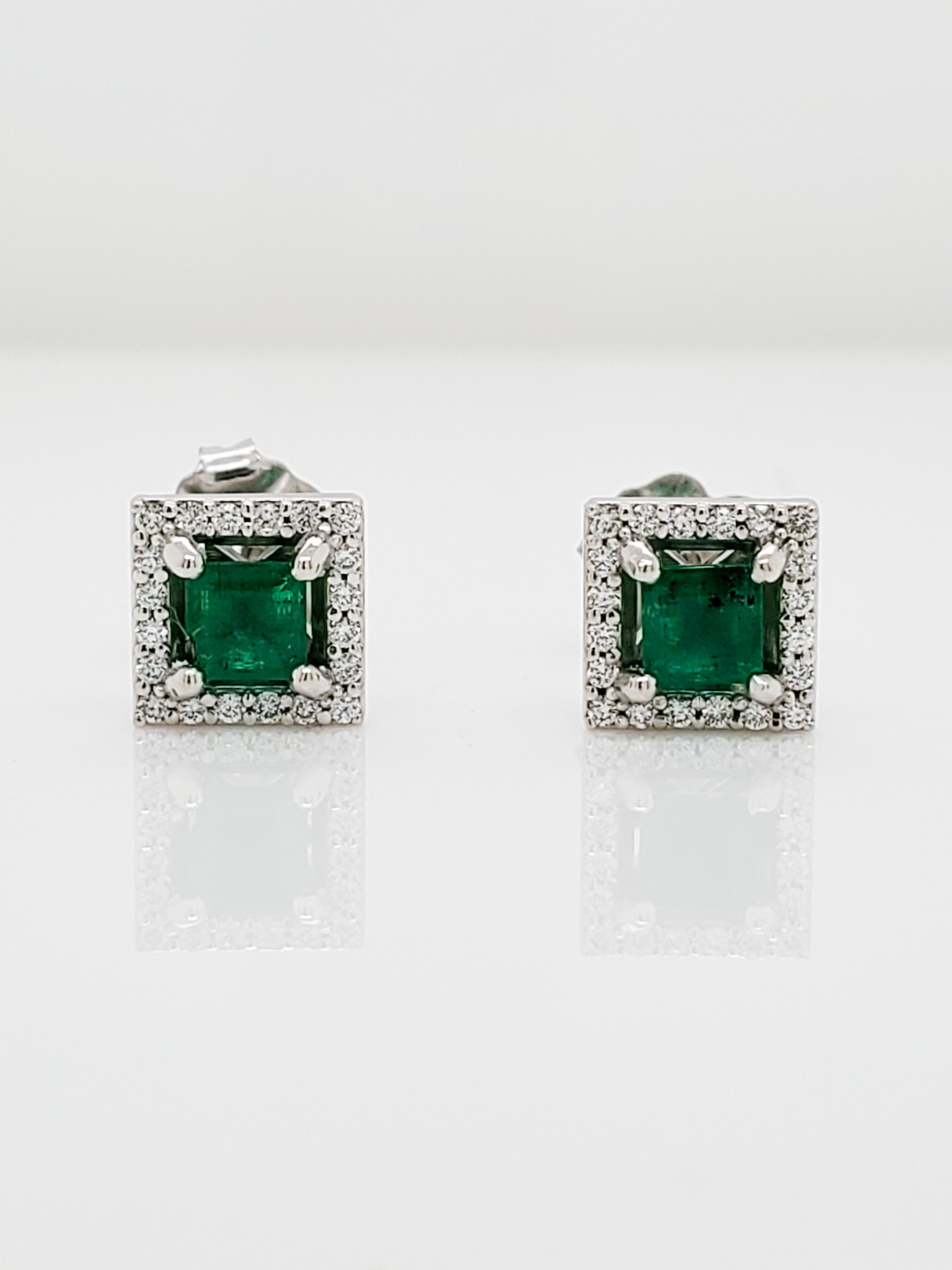 14KT White Gold Square Emerald Diamond Halo Earrings 1/10 CTTW