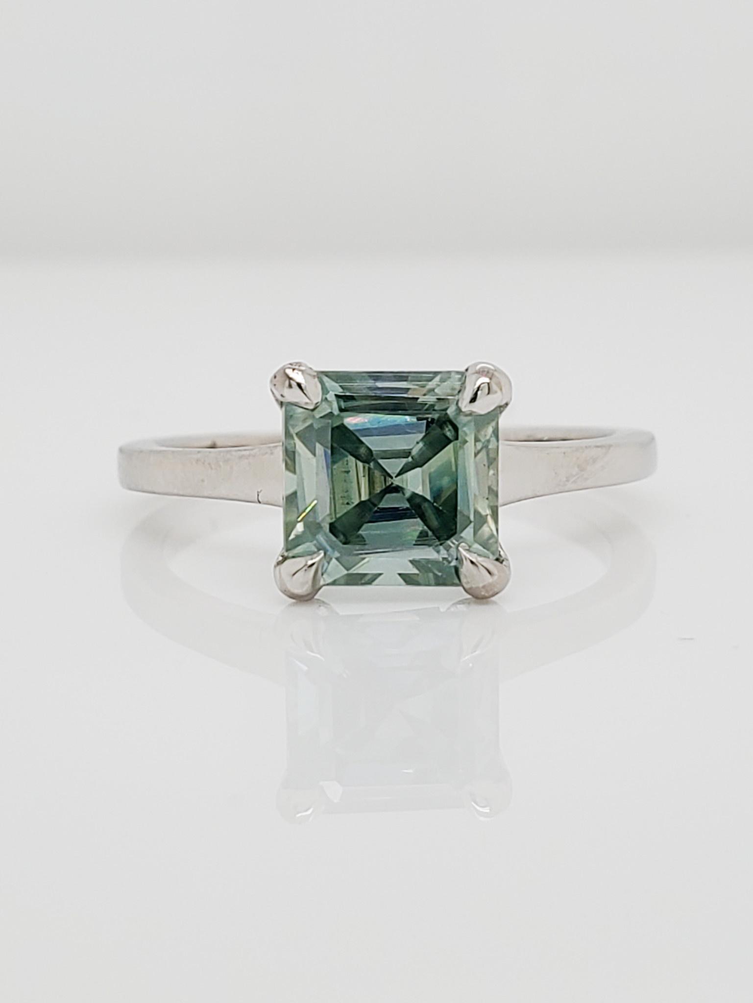 Platinum Asscher Cut Teal Moissanite Ring