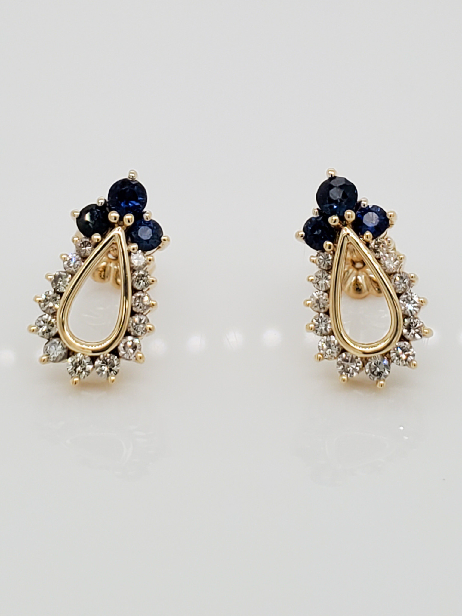 14KT Yellow Gold Estate Sapphire & Diamond Stud Earrings