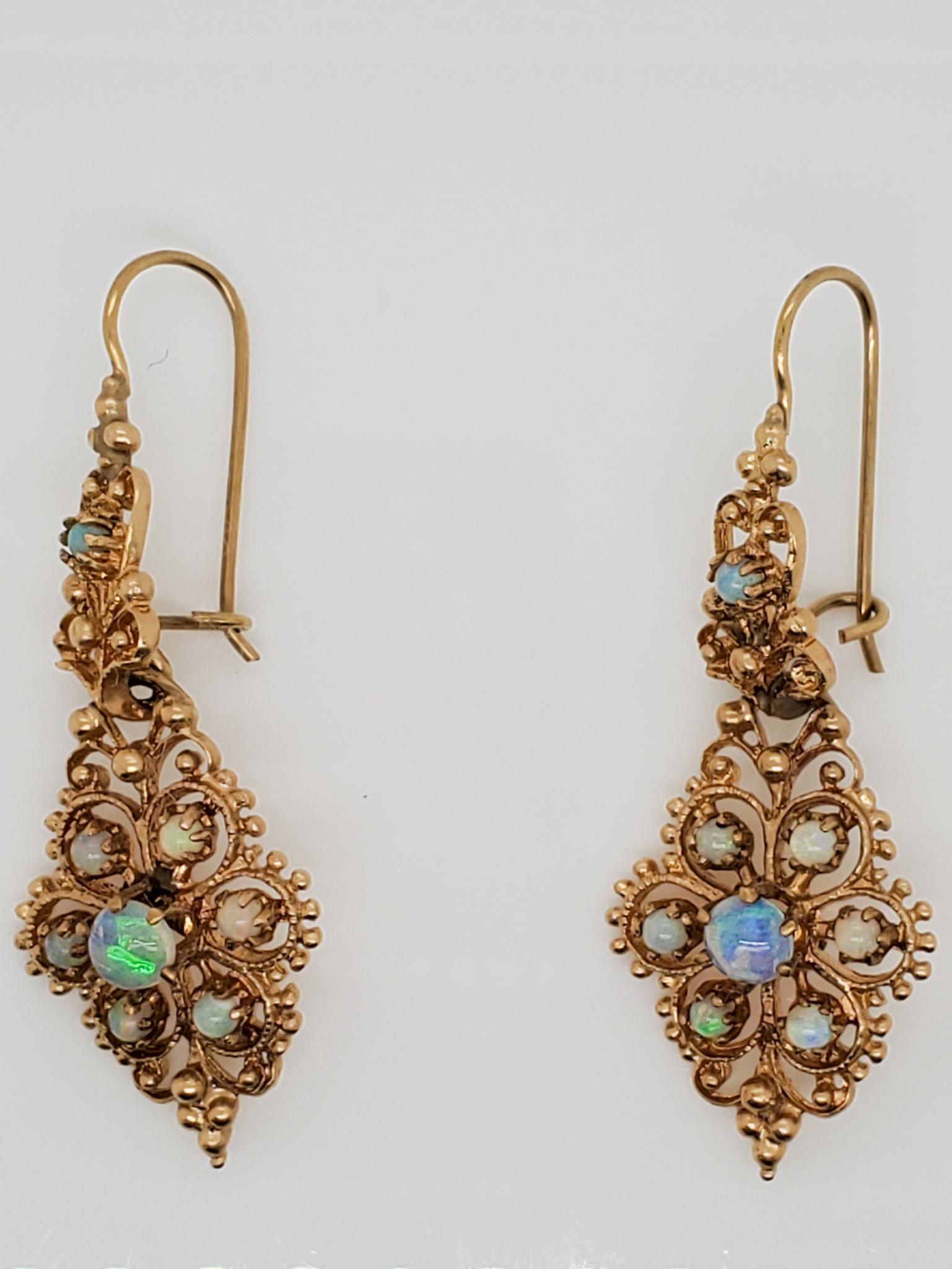 14K Yellow Gold Estate Opal Earrings