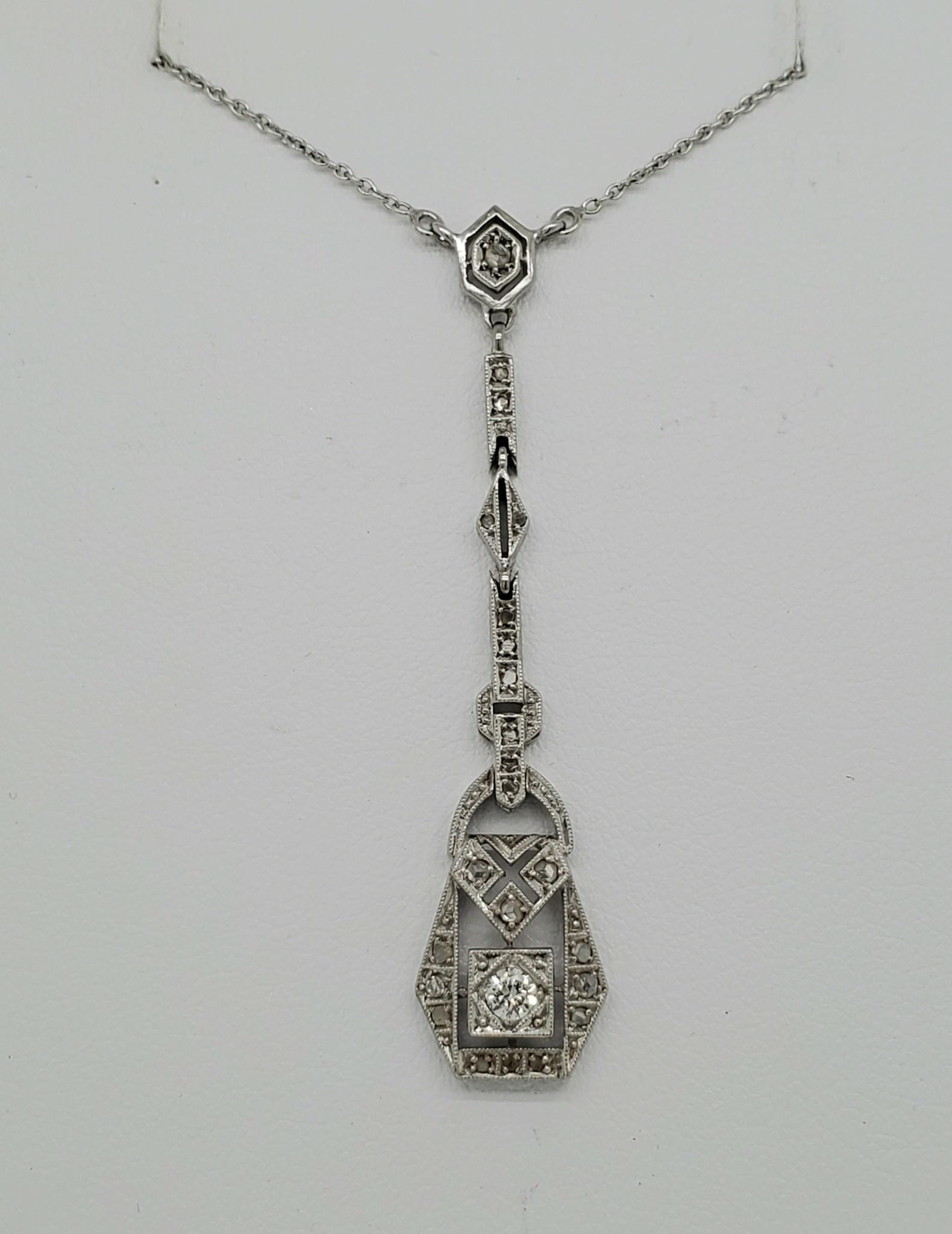18KT WG Estate Diamond Pendant