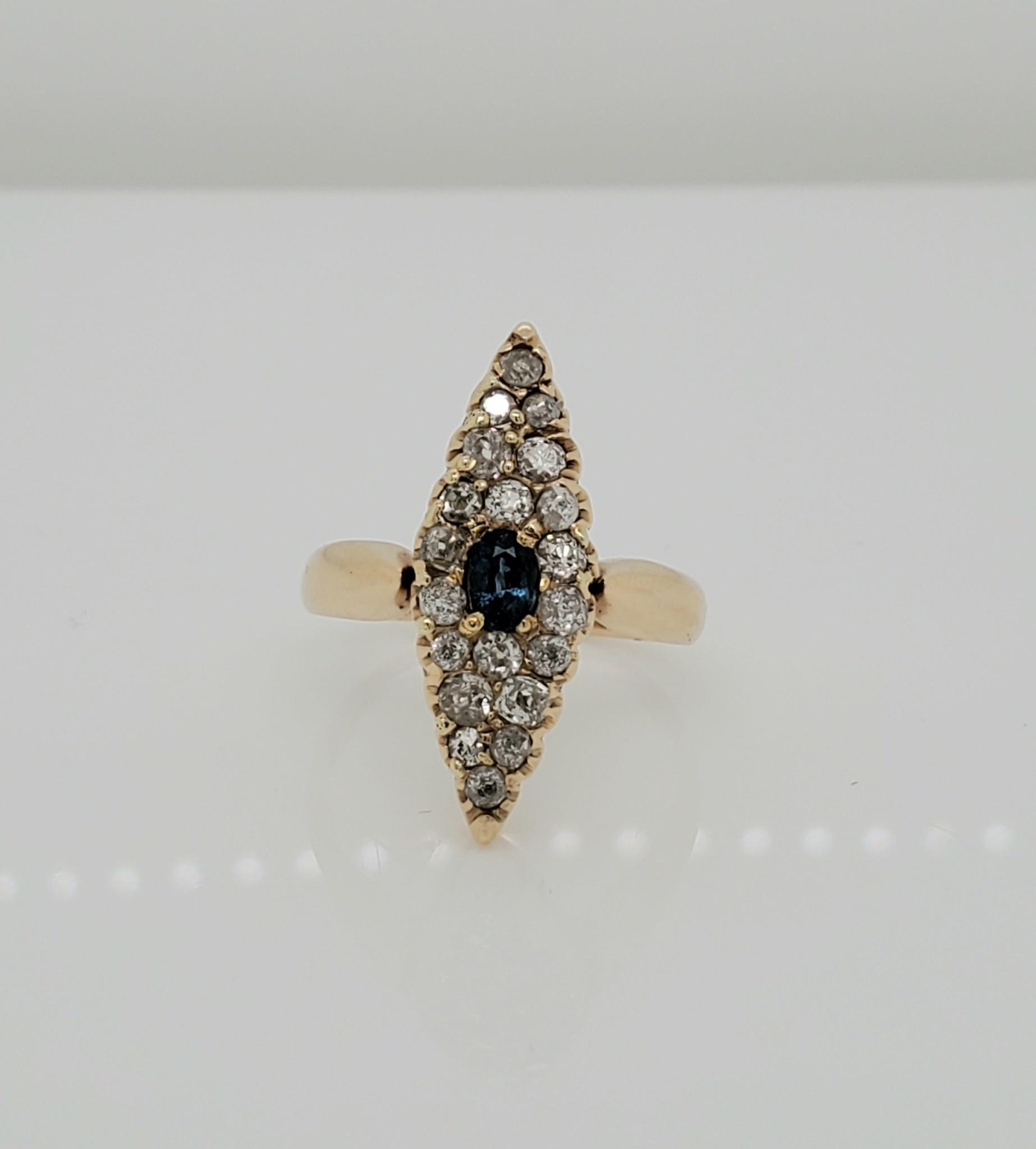 14KT YG Estate Sapphire & Diamond Ring