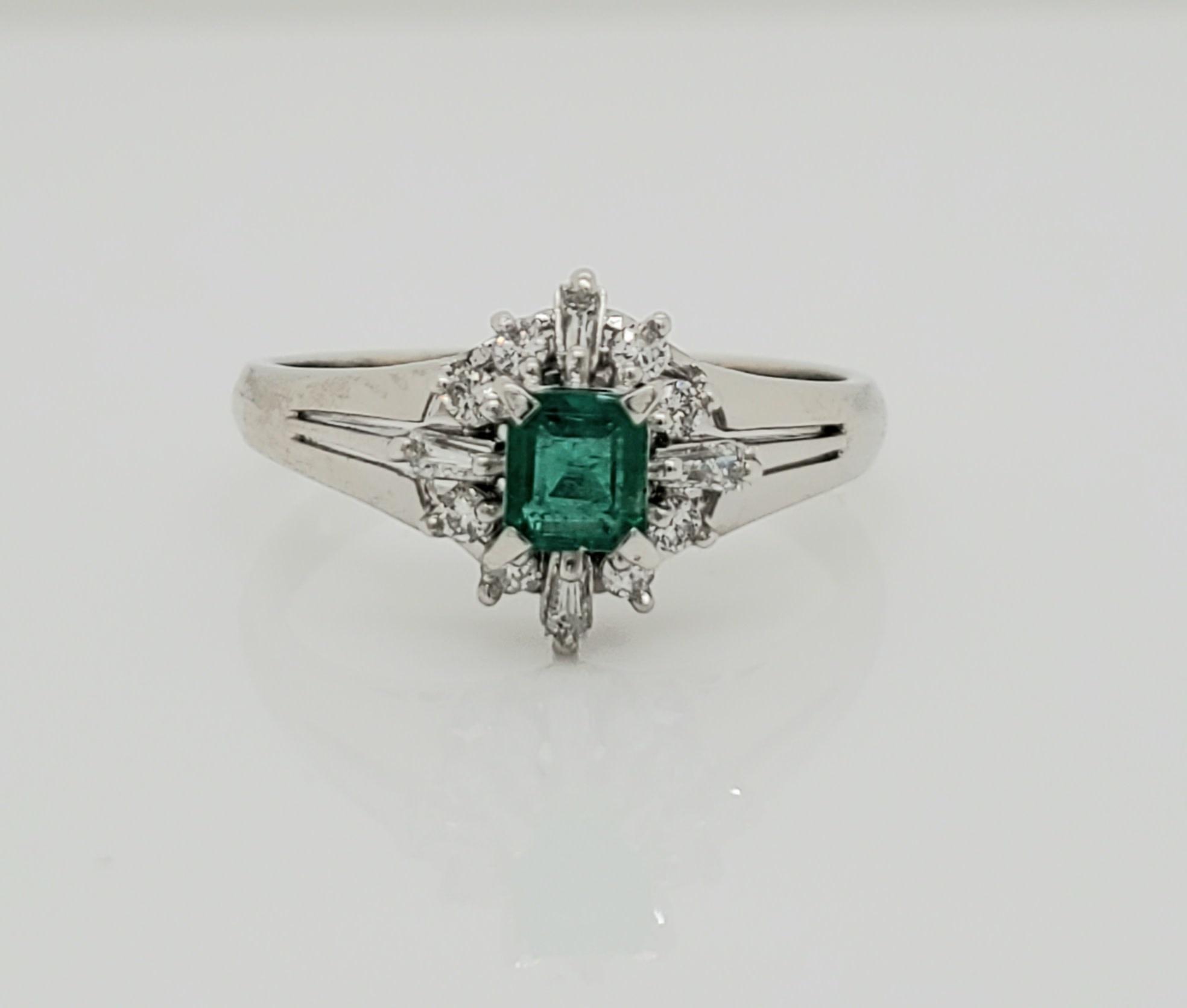 Platinum 0.27 CT Emerald & Diamond Ring