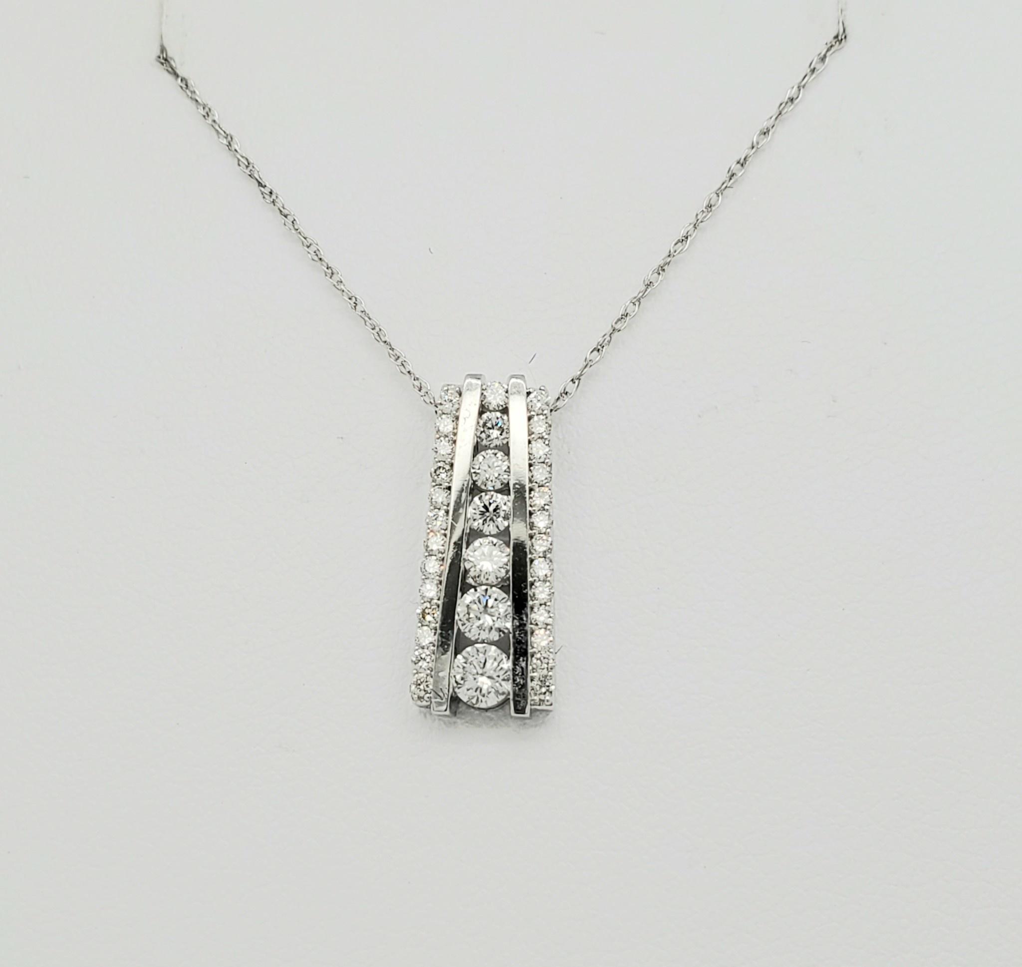 14KT WG Diamond Pendant 0.50 CTTW