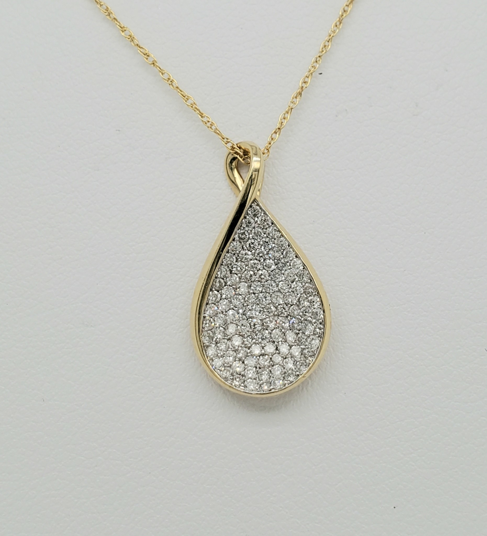 14KT YG Diamond Drop Pendant 0.50 CTTW
