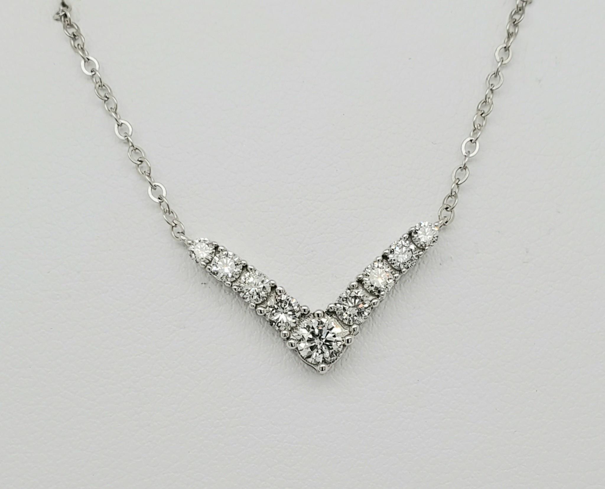 14KT WG Diamond V Necklace 0.60 CTTW