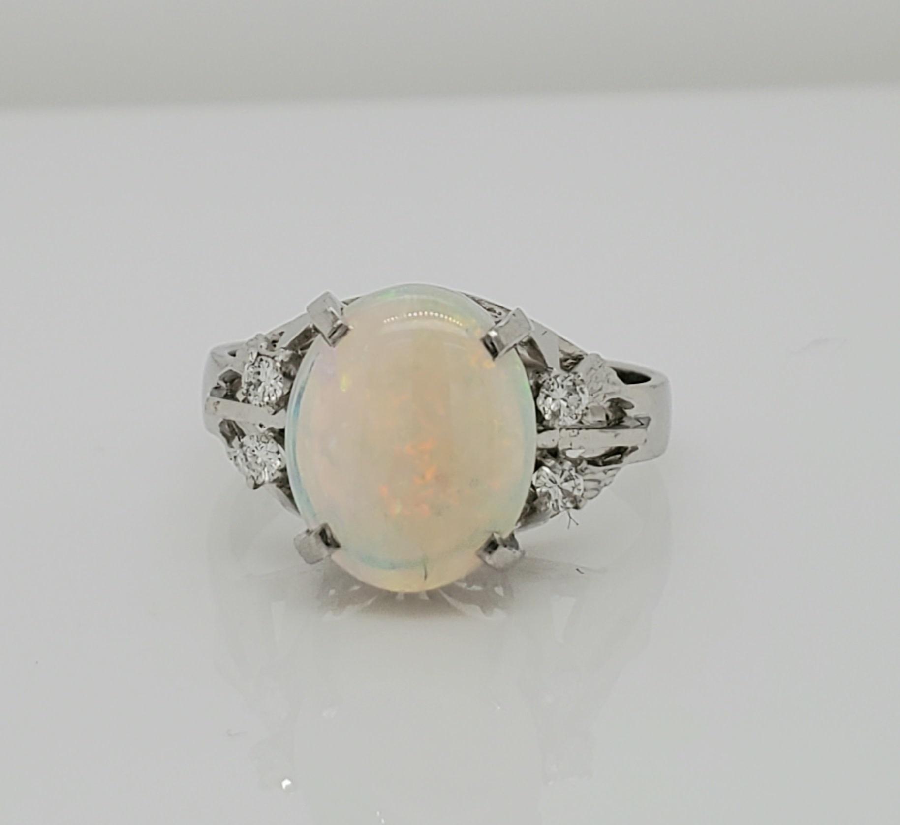 Platinum 1.94 CT Opal & Diamond Ring
