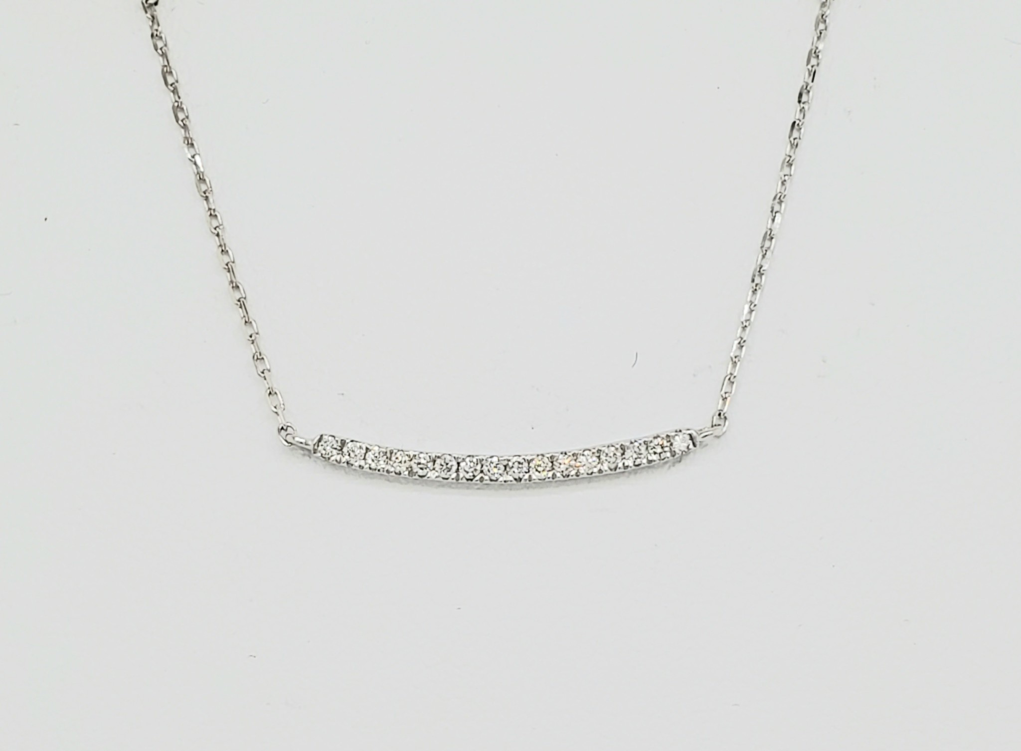 14KT White Gold Curved Diamond Bar Necklace 0.10 CTW