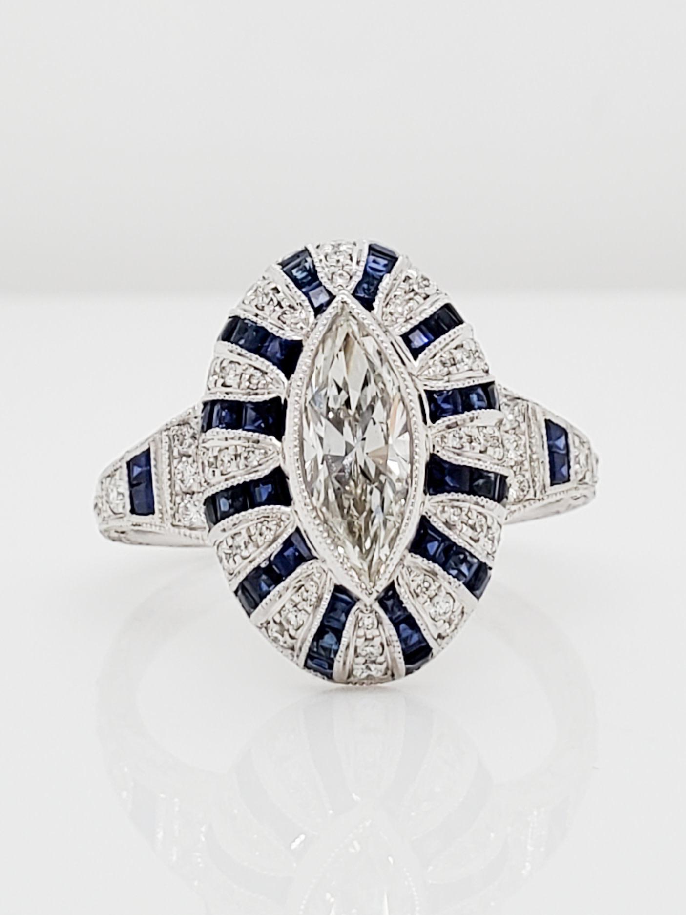 14KT White Gold Vintage 0.97 CT Marquis Diamond & Sapphire Ring