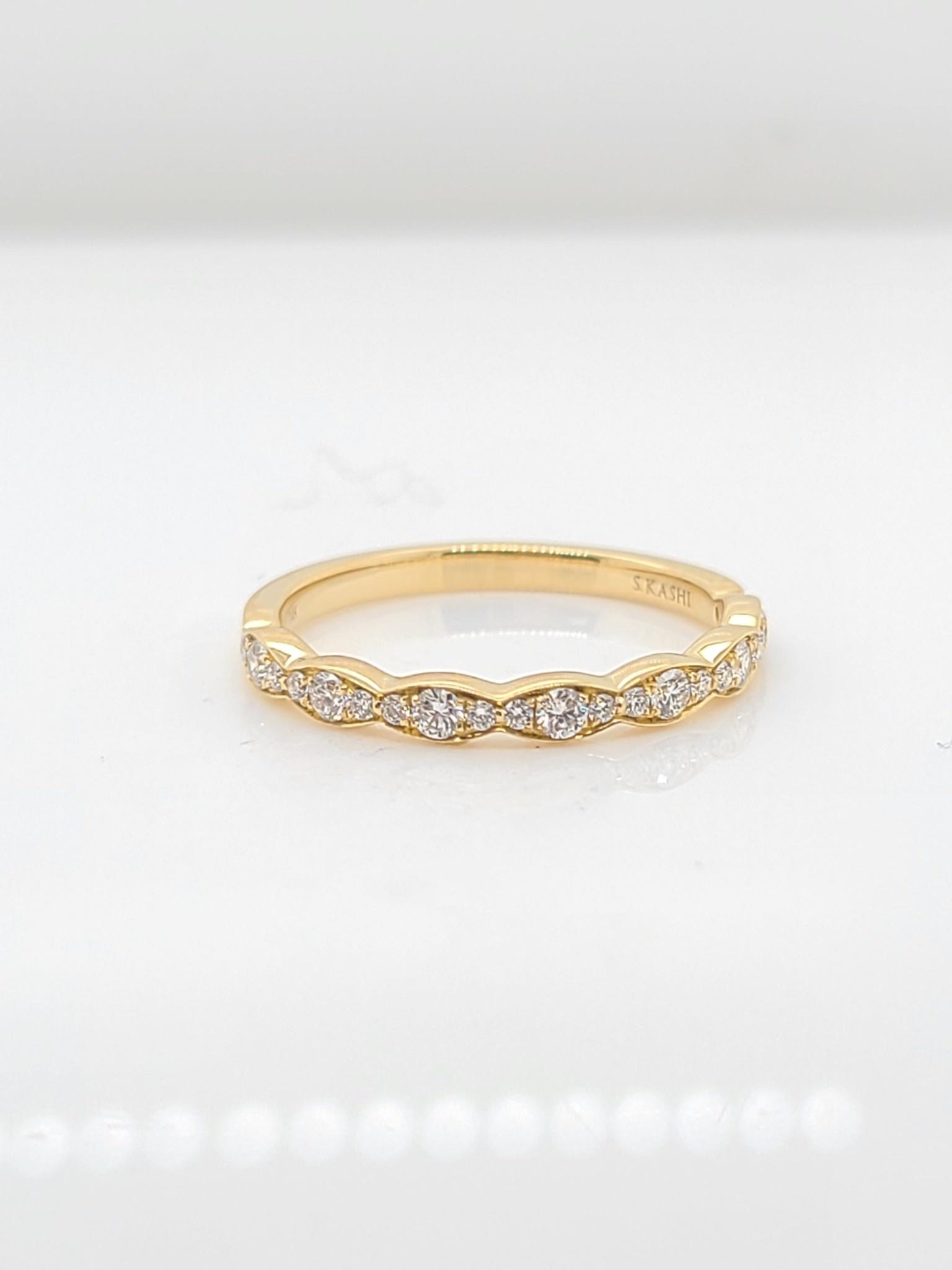 14KT yellow gold diamond band 0.23 CTW