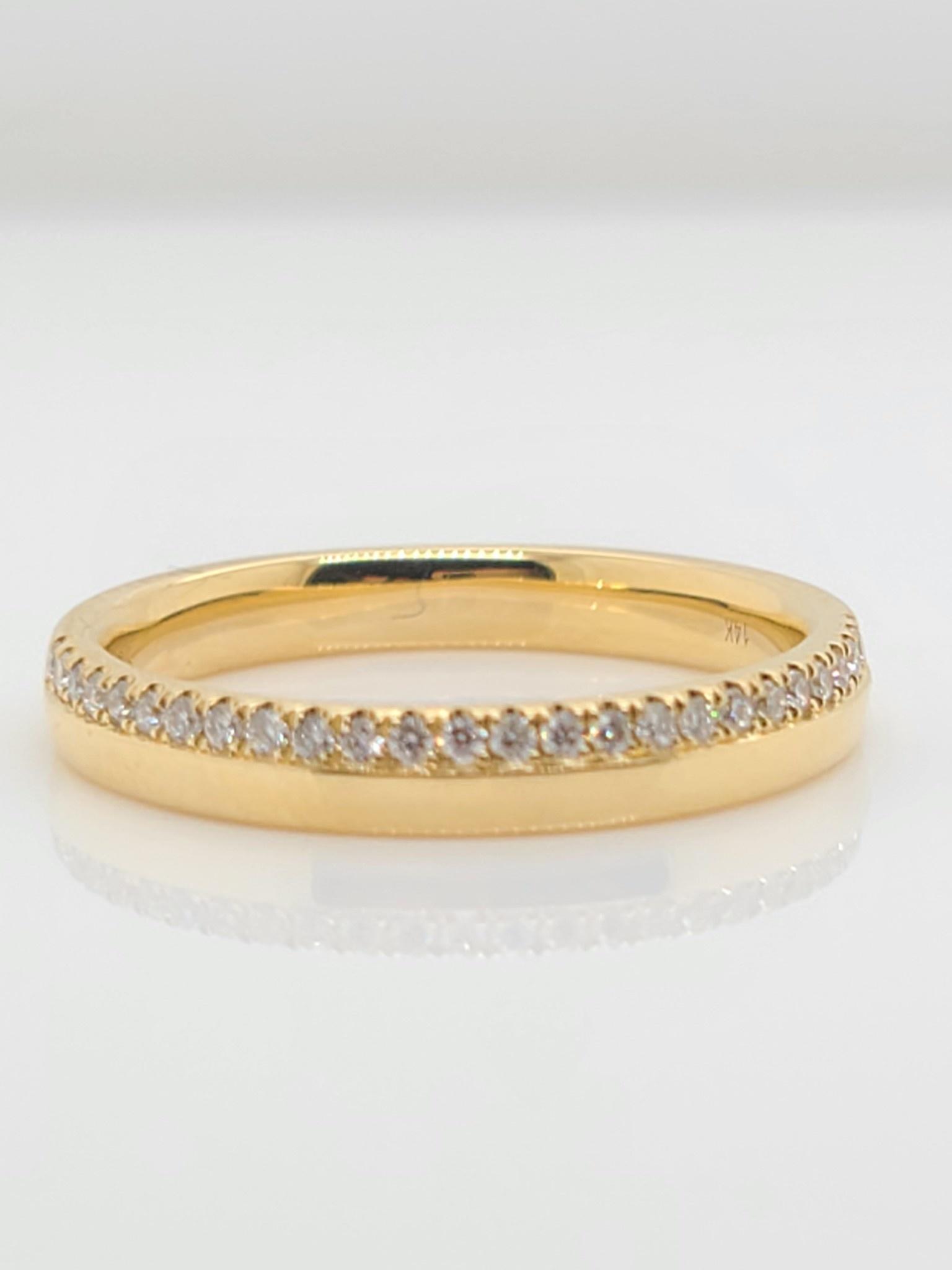14KT Yellow Gold Diamond Offset Band 0.16 CTW