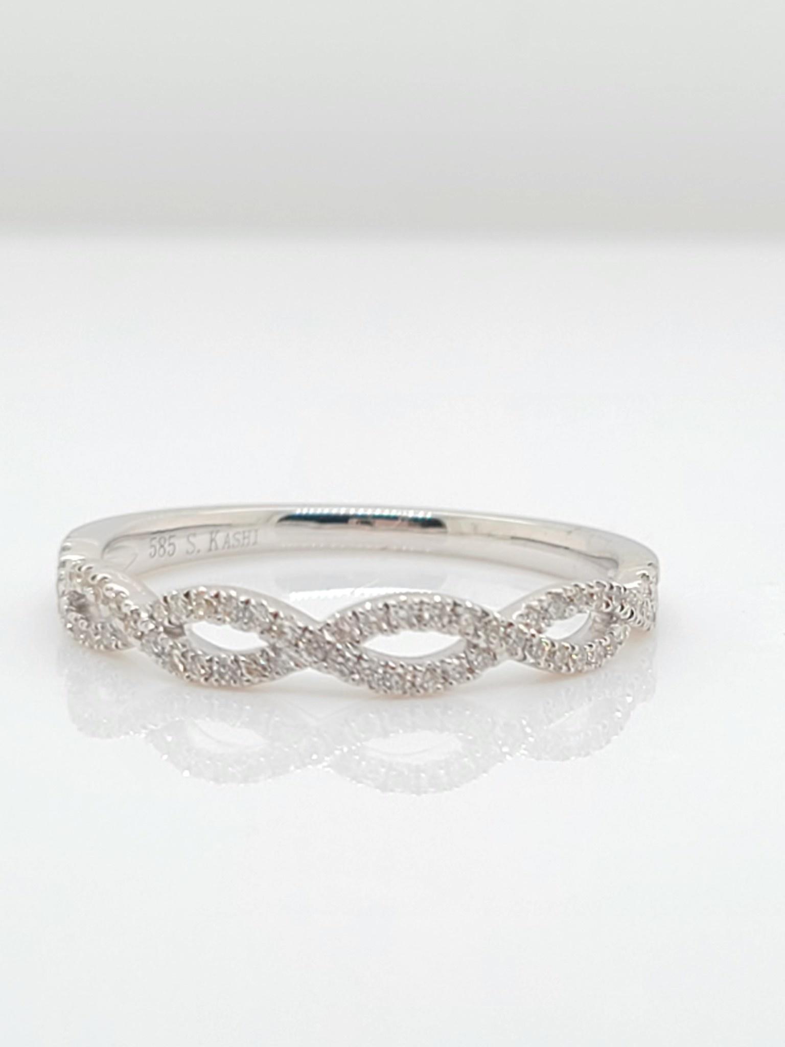 14KT White Gold Diamond Infinity Band 0.18 CTW
