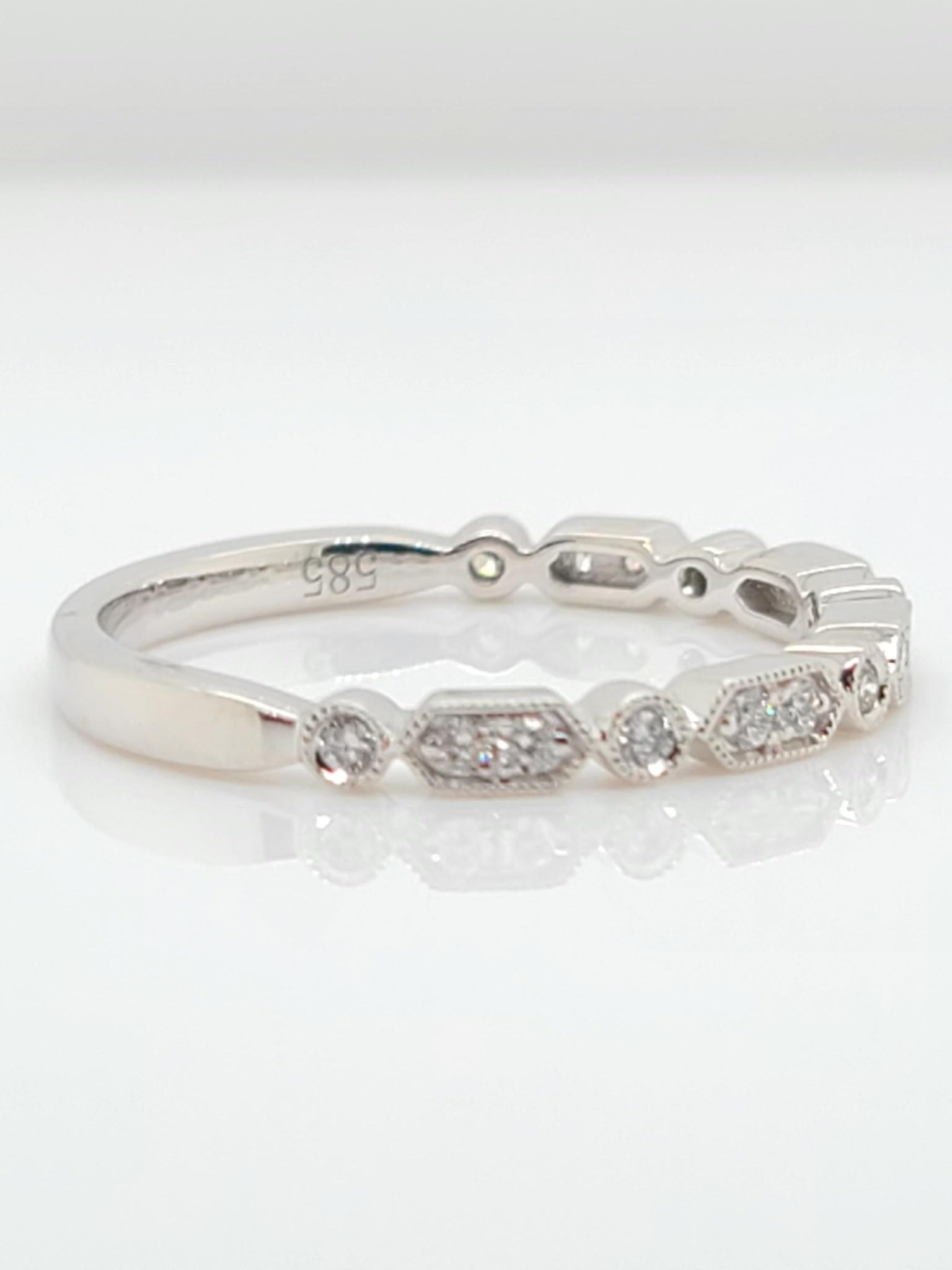 14KT White Gold Alternating Diamond Band 0.16 CTW