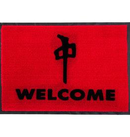 RDS DOOR MAT WELCOME 27x18in RED/BLACK