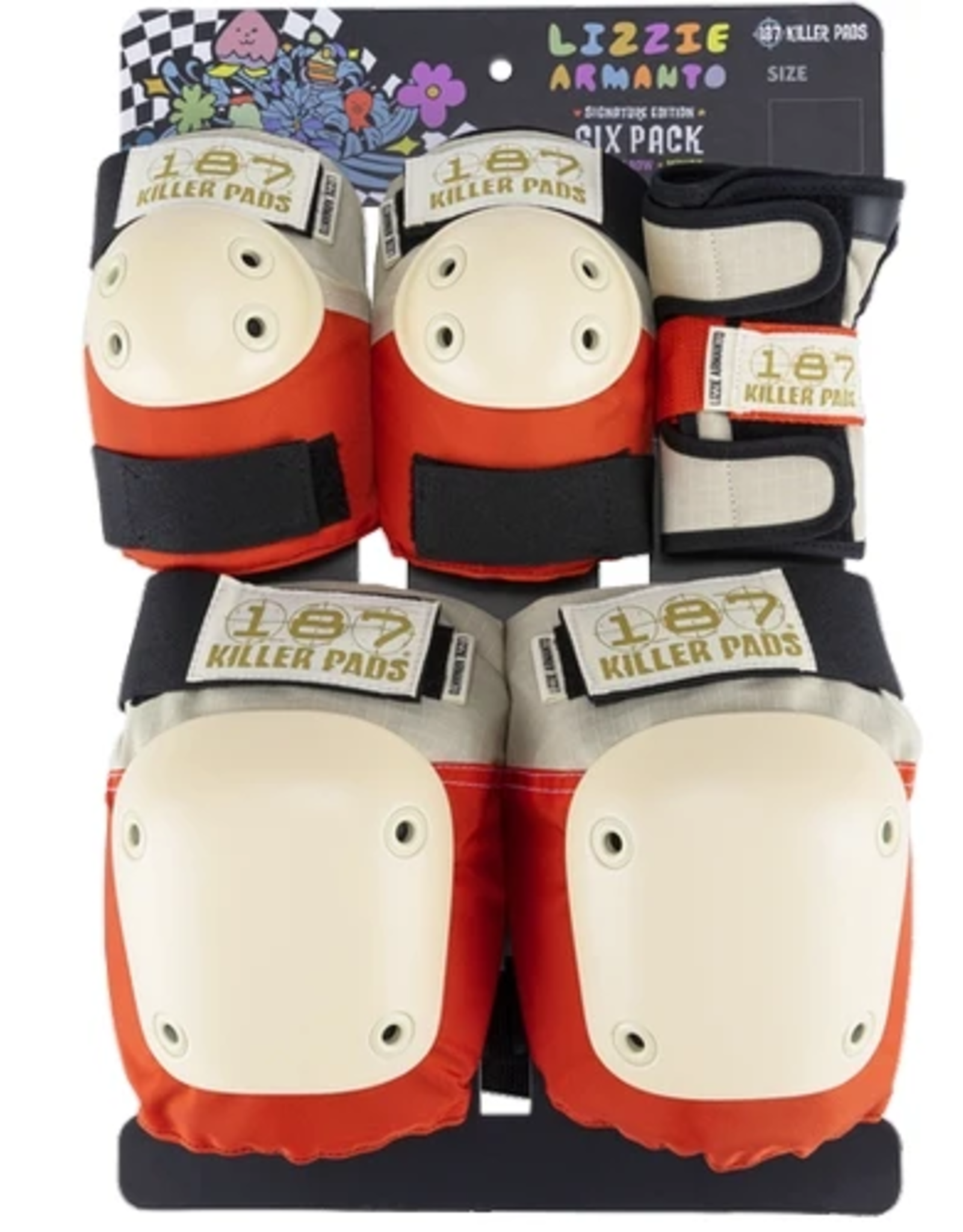 KILLER PADS LIZZIE ADULT SIX PACK GREY/RED