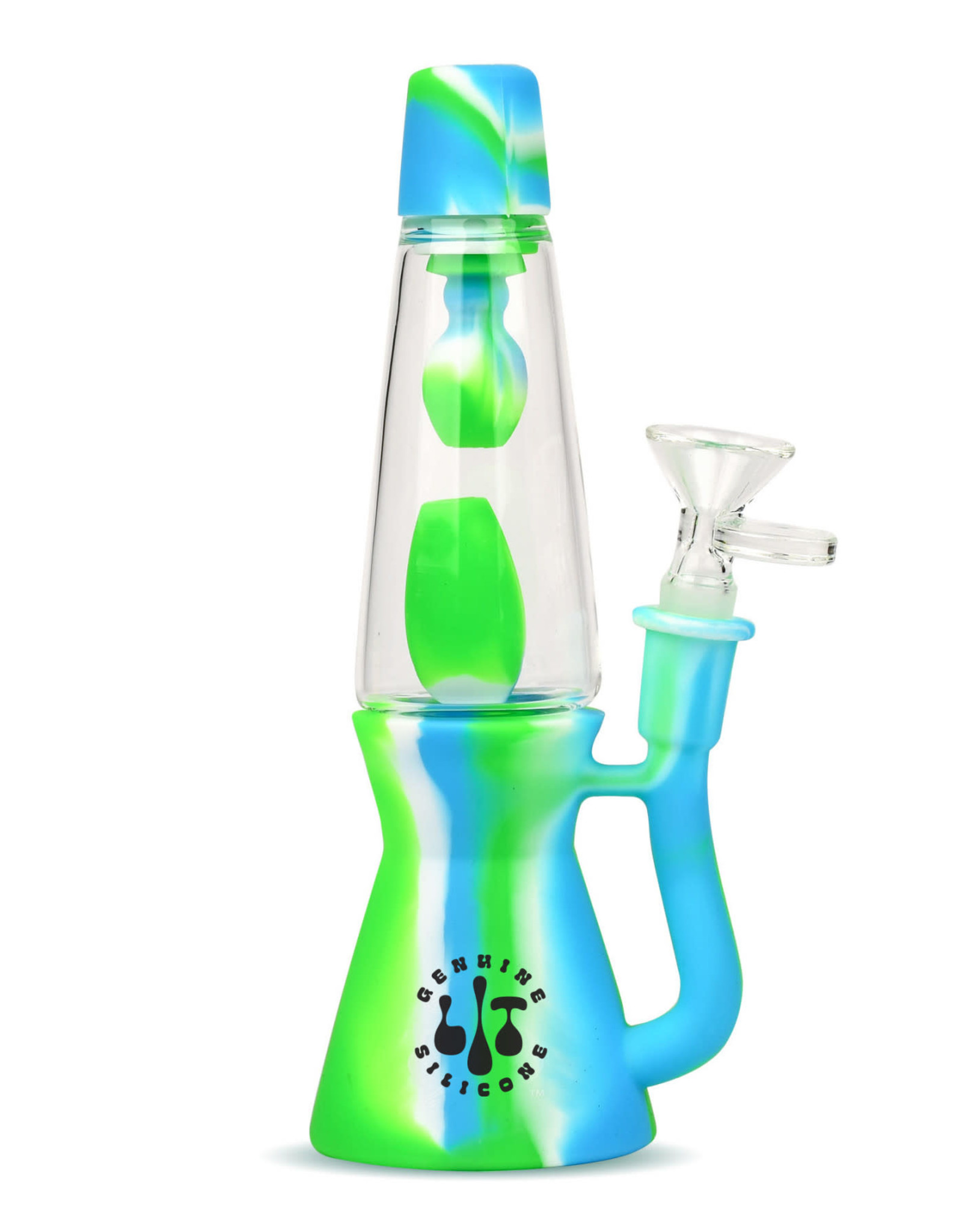 """LIT TS135 8.25"""" BLUE GREEN & WHITE LAVA LAMP WATER PIPE W/ GLASS PULL OUT"""