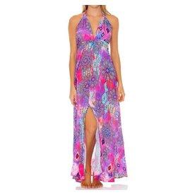 Luli Fama Pink Lagoon Plunge Halter Long Dress