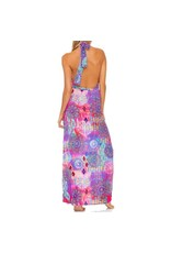 Luli Fama Pink Lagoon Plunge Halter Long Dress