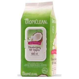 Tropiclean 100 count Deep Cleaning Deodorizing Pet  Wipes