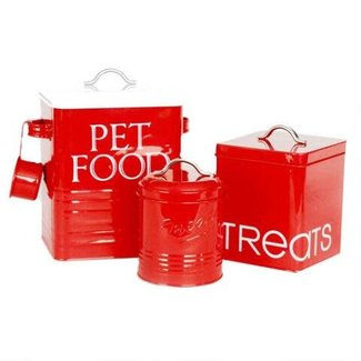 Barkley & Evans Set of 3 Red Canisters