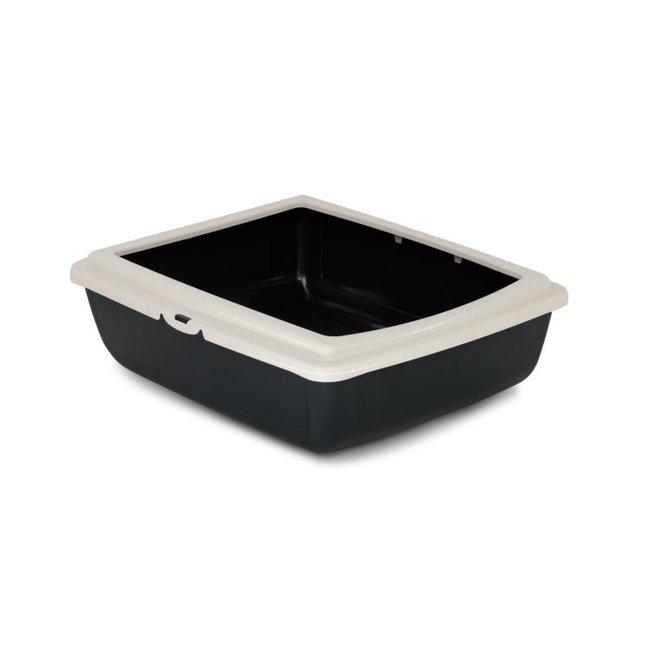 Bergamo Grey Litter Pan with White Rim