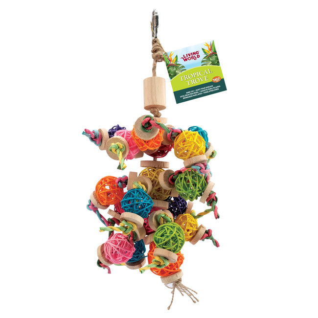 Living World Tropical Trove Foraging Mobile with Wicker Balls Bird Toy