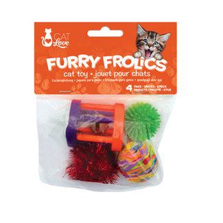 Cat Love 4 Piece Furry Frolics Assorted Cat Toys