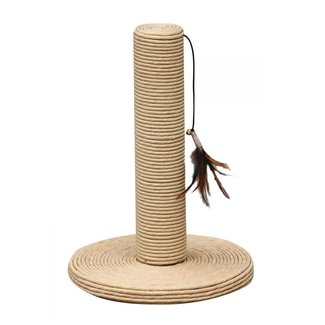 """Petpals 15"""" Paper Scratching Post with Feather Toy"""