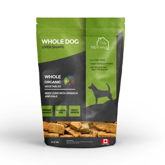 Treat Haus 380g Whole Dog Liver Snaps Beef Liver Spinach & Kale